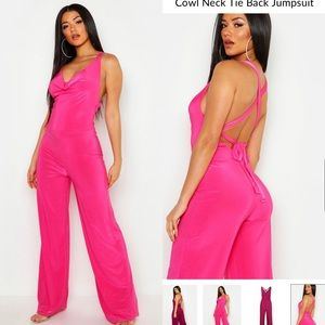 HOT PINK JUMPSUIT // SILKY WITH LACE UP BACK